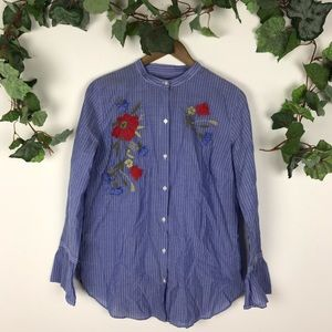 Loft Button Down Floral Embroidered Long Sleeve